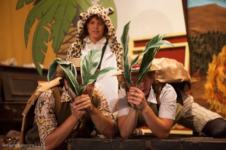 Thumper (Joan Howard) plays Painted Jaguar, about to surprise the two Armadillos -- played by Samuel Peaches (Casey Robbins) and Arby-Darby (Juliana Frick)